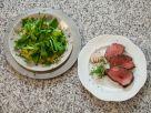 Geschmorte Rinderhüfte mit Feldsalat auf Kartoffelvinaigrette Rezept