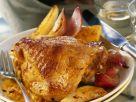 Glasierter Putenschlegel mit Obstsoße und Zwiebeln Rezept