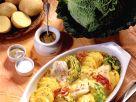 Gratinierte Senfkartoffeln mit Seelachs und Wirsing Rezept