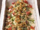 Gratiniertes Fischfilet mit Croutons und Lauchzwiebeln Rezept
