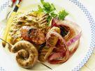 Grillwürste mit Polenta und Zwiebeln Rezept