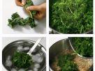 Grünkohl blanchieren und in Topf geben Rezept