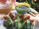 Gurkenscheiben mit Ziegenfrischkäse gefüllt Rezept