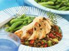 Hähnchen auf Linsengemüse und grünen Bohnen Rezept