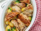 Hähnchen aus dem Ofen mit kleinen, neuen Kartoffeln Rezept