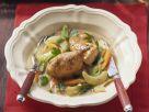 Hähnchen in Weißwein mit Kohlrabi und Karotten Rezept