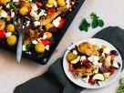 Hähnchen vom Blech griechische Art Rezept