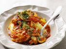 Hähnchenbrust mit Tomatensoße und Püree Rezept