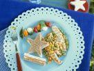 Hähnchenfilet mit Gemüse dazu Sandwich und Tomaten-Spießchen Rezept