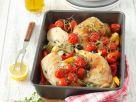 Hähnchenschenkel mit Paprika und Tomaten Rezept