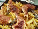 Hähnchenschlegel mit Mais-Kartoffeln Rezept