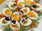 Harte Eier mit Kaviar und Lachs Rezept
