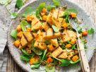 Haselnuss-Polenta mit Süßkartoffel-Portulak-Salat Rezept