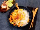 Indisches Ofen-Hähnchen auf Kokos-Reis mit gebratener Ananas Rezept