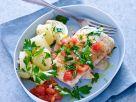 Kabeljaufilets aus dem Ofen mit Tomaten und Kartoffeln Rezept