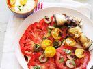 Käse im Auberginenmantel mit Tomaten Rezept