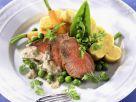 Kalbsfilet mit Gemüse, Mascarpone-Soße und Polentaschnitten Rezept