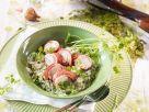 Kaninchen im Speckmantel auf Kräuterrisotto Rezept