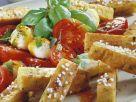 Kichererbsen-Pommes mit Tomate-Mozzarella Rezept