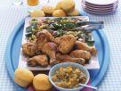 Knusprige Hähnchenkeulen mit Gemüse Rezept