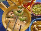 Kokosfondue mit Garnelen und Hähnchen Rezept
