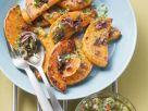Kürbis vom Grill mit Oliven mariniert Rezept