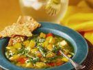 Kürbissuppe mit buntem Gemüse Rezept