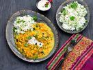 Linsen-Gemüse-Dal mit Basmati-Koriander-Reis Rezept