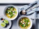Mais-Avocado-Suppe mit Ziegenkäse und Koriander Rezept