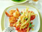 Marinierte Wachsbohnen auf Tomaten mit Garnelen Rezept