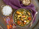 Paneer mit Mangold, Basmati-Reis und Cashewkernen Rezept