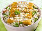 Panierte Fischstückchen mit Gemüsereis Rezept