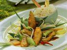 Pfannengemüse mit Hähnchen und Basmatireis Rezept