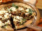 Quiche mit Lammfleisch, Rosinen, Pinienkernen und Feta Rezept