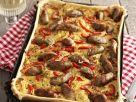 Quiche mit Nürnberger-Rostbratwürstchen und Paprika Rezept