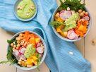 Reis-Bowl mit Kichererbsen und Cashewsauce Rezept