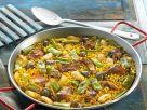 Reispfanne mit grünem Bohnen (Paella) Rezept