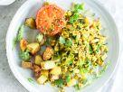 Rührtofu mit Avocado, Kartoffeln und Tomaten Rezept