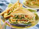 Sandwich mit Kartoffel, Ei und Würstchen Rezept