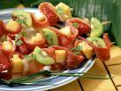 Schinken-Obst-Spieße mit Käse Rezept