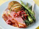 Schinkenbraten mit Gemüse und Rhabarbersauce Rezept