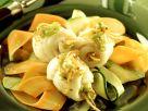Seezungenröllchen orientalisch gewürzt mit Gemüsestreifen Rezept