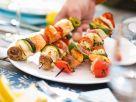 Spieße zum Grillen mit Lachs, Seeteufel und Rotbarbe Rezept