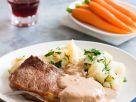 Steak mit Sahnesauce und Gemüse Rezept
