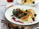 Steak vom Hirsch mit Eierschmarrn und Rotweinsoße Rezept