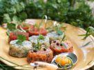 Tartar von verschiedenen Fischen, Ei und Käsesauce Rezept