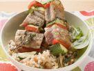 Thunfisch-Gemüse-Spieße auf Reis Rezept