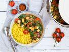 Tofu-Spinat-Tomaten-Curry mit Kurkuma-Reis Rezept