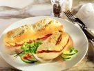 Überbackenes Schinken-Tomaten-Baguette Rezept