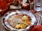 Weihnachtliche gefüllte Pute mit Gemüse und Polenta Rezept